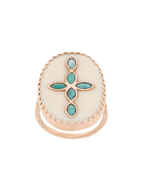 Pascale Monvoisin 9kt rose gold BOWIE N°3 WHITE TURQUOISE ring