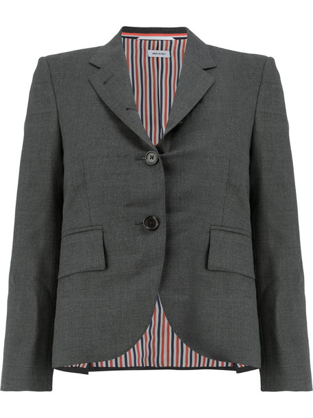 Thom Browne Classic Single Breasted Sport Coat in Medium Grey 2-PLY Wool Fresco
