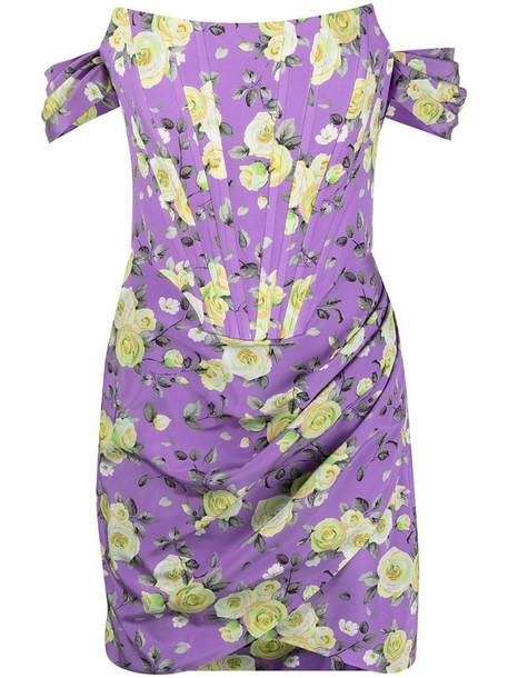 Giuseppe Di Morabito floral-print gathered minidress in purple