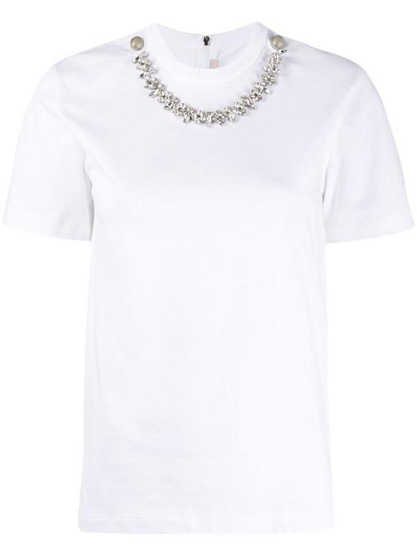 Christopher Kane crystal necklace-embellished T-shirt in white