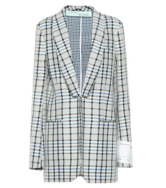 Off-White Checked cotton and silk blazer