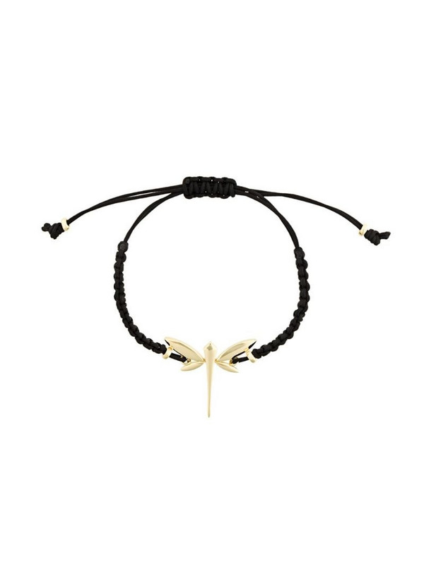 Anapsara 18kt yellow gold dragonfly rope bracelet in black