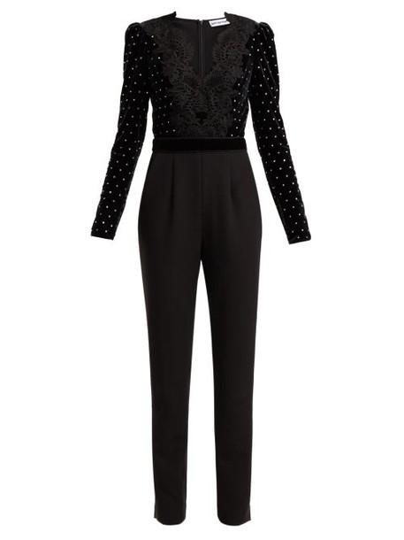 Self-portrait - Crystal Embellished Velvet Jumpsuit - Womens - Black