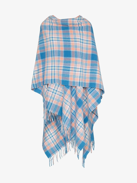 Acne Studios blue and pink check wool poncho