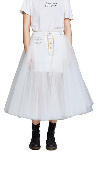 Unravel Project Short Washout Denim Tulle Skirt