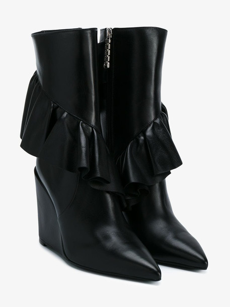 JW Anderson frill detail boots in black