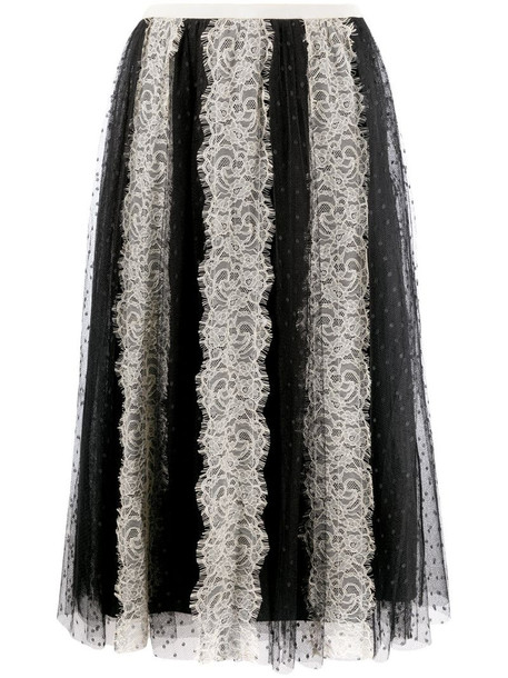 RED Valentino lace-detail tulle skirt in black