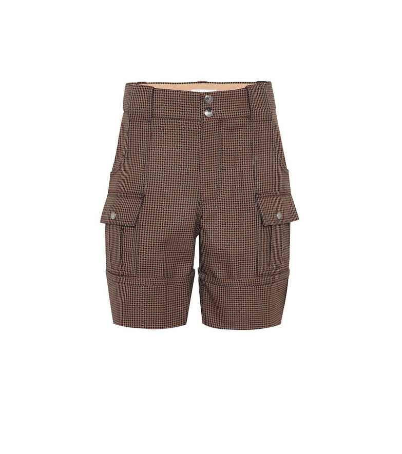 Chloé Checked cotton-blend shorts in brown