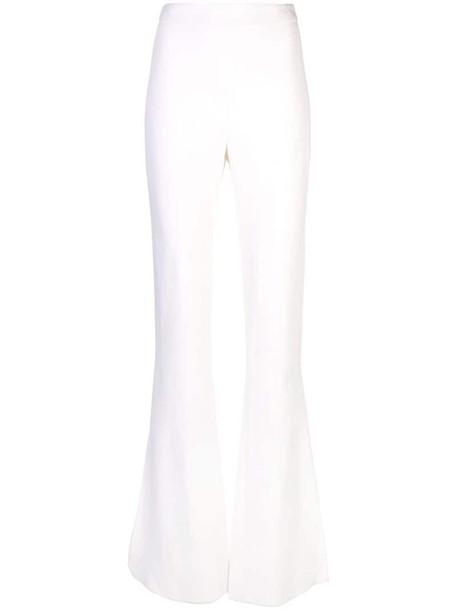 Cushnie high waist flared trousers in white