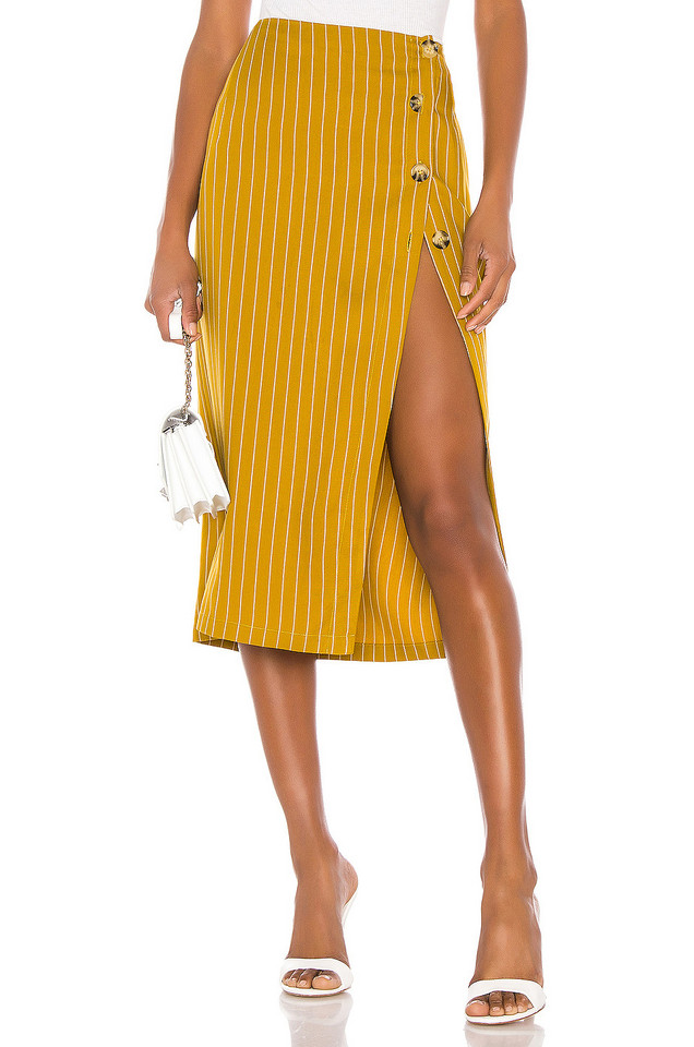 L'Academie The Lisa Midi Skirt in mustard