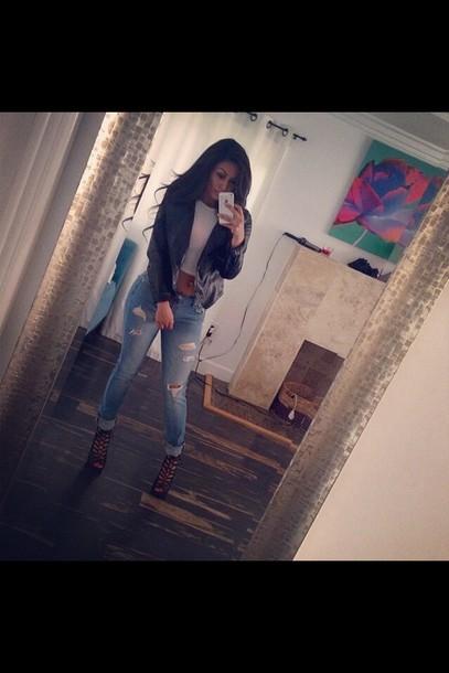 jacket crop tops pants high heels shoes jeans