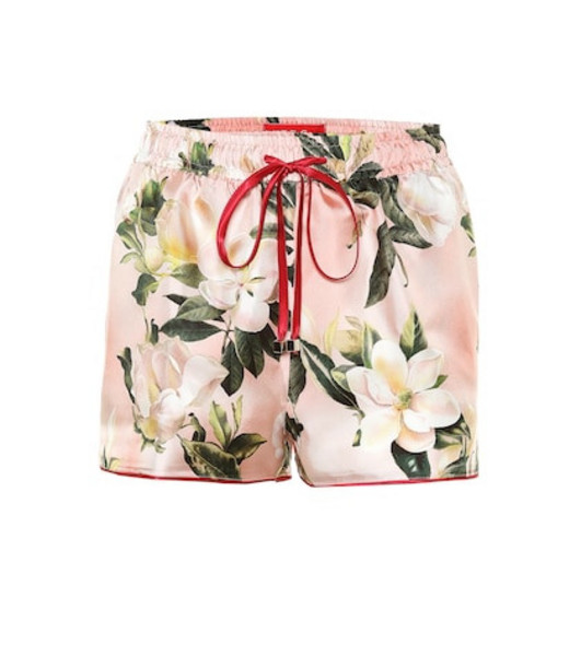 F.R.S For Restless Sleepers Pistis Plumeria silk pajama shorts in pink