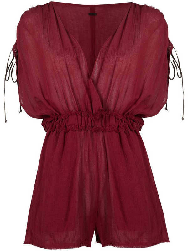 Caravana frayed V-neck playsuit in red