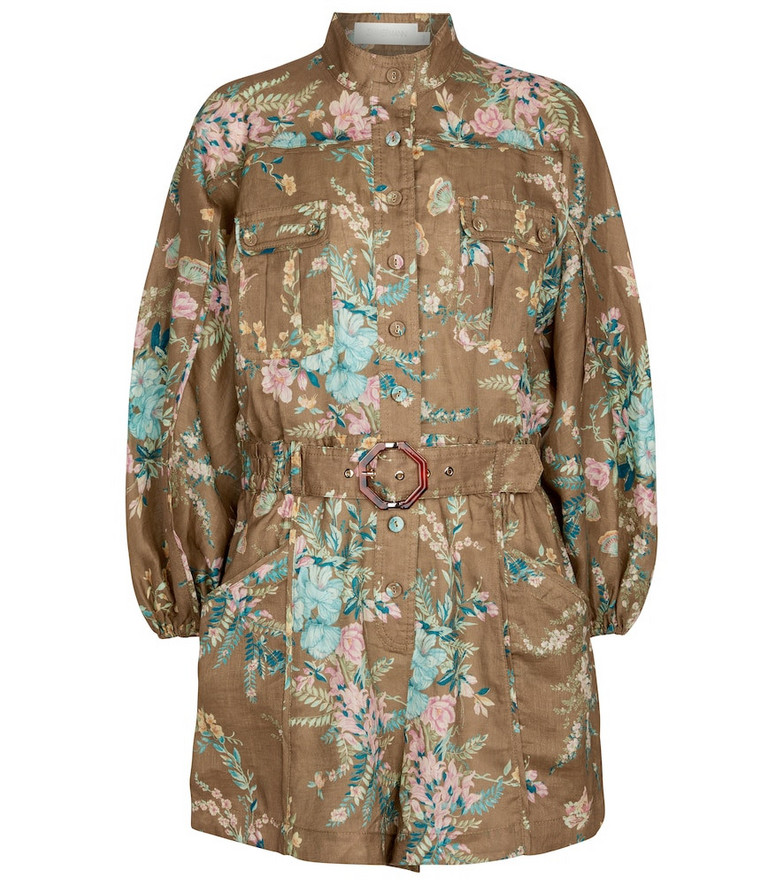 Zimmermann Cassia floral linen playsuit in brown
