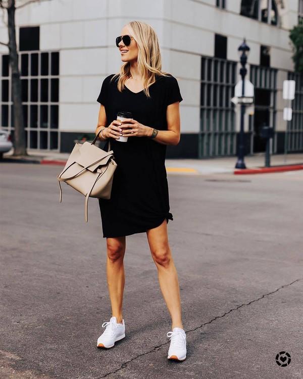 dress black dress mini dress short sleeve dress white sneakers bag casual streetstyle