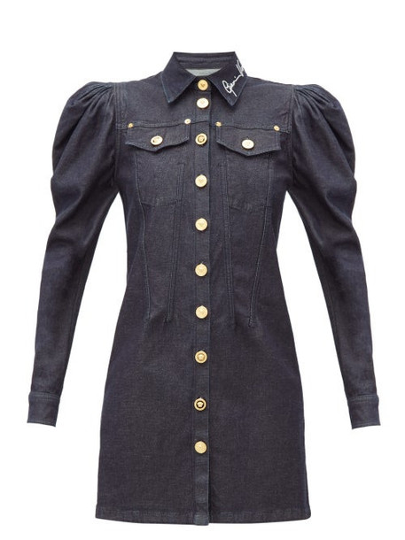 Versace - Signature-embroidered Denim Mini Dress - Womens - Denim