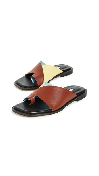 Yuul Yie Origami Sandals in brown / yellow