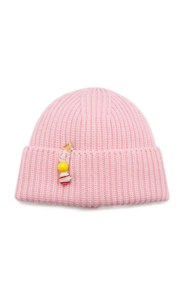 Federica Moretti Rib-Knit Wool Beanie in pink