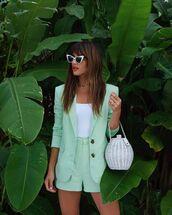 jacket,blazer,High waisted shorts,white t-shirt,white bag,bucket bag,white sunglasses,shorts,top,sunglasses,rocky barnes,instagram,blogger style,blogger