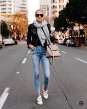 jeans,skinny jeans,high waisted jeans,white sneakers,bag,black leather jacket,scarf,black top