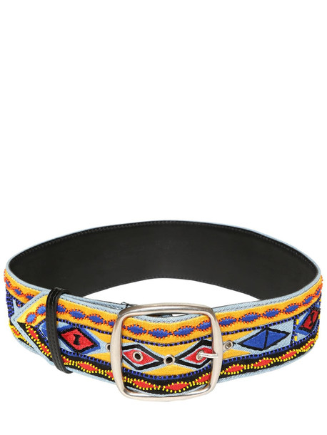 ETRO Embroidered Leather Belt in blue / yellow