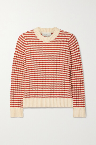 The Great - Striped Ribbed Cotton-blend Sweater - Red