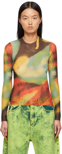 Marques Almeida Multicolor Print Mesh Long Sleeve T-Shirt in multi