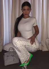 pants,kylie jenner,white,white pants,lace up,kardashians,celebrity,top,all white everything