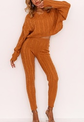 jumpsuit,girly,girl,girly wishlist,two-piece,sweater,cable knit,leggings,matching set,cropped,crop,cropped sweater,burnt orange