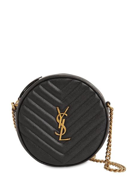 SAINT LAURENT Vinyle Round Quilted Leather Camera Bag in black