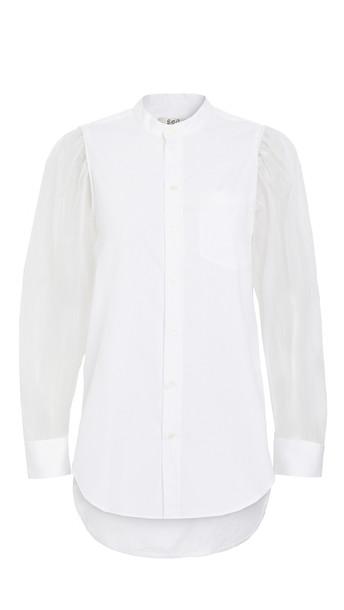 Sea James Organza Sleeve Shirt in white