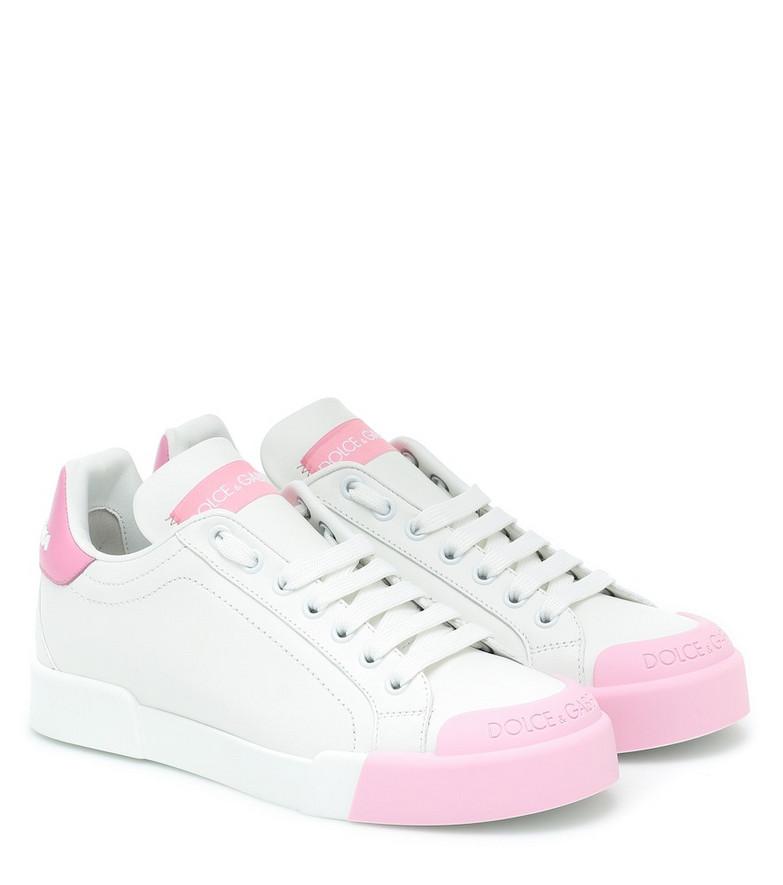 Dolce & Gabbana Portofino leather sneakers in white