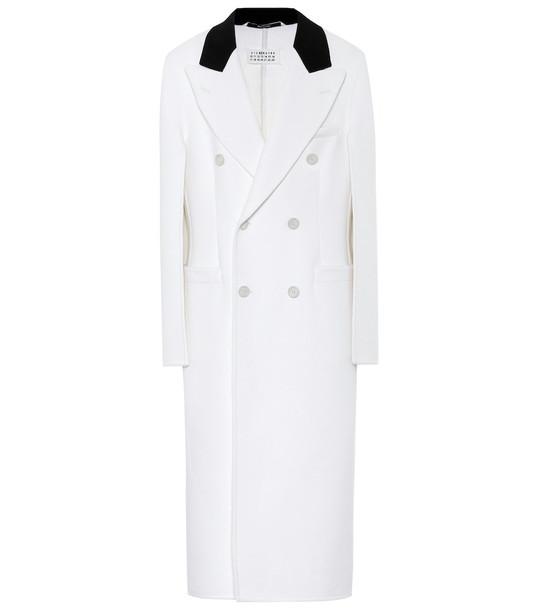 Maison Margiela Wool, angora and cashgora coat in white