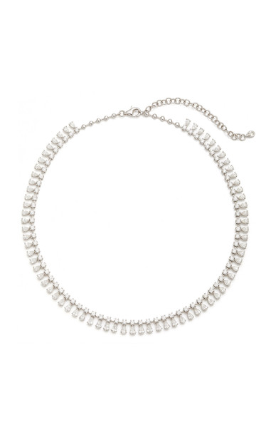Anita Ko Round And Pear Diamond Shaker Necklace in white