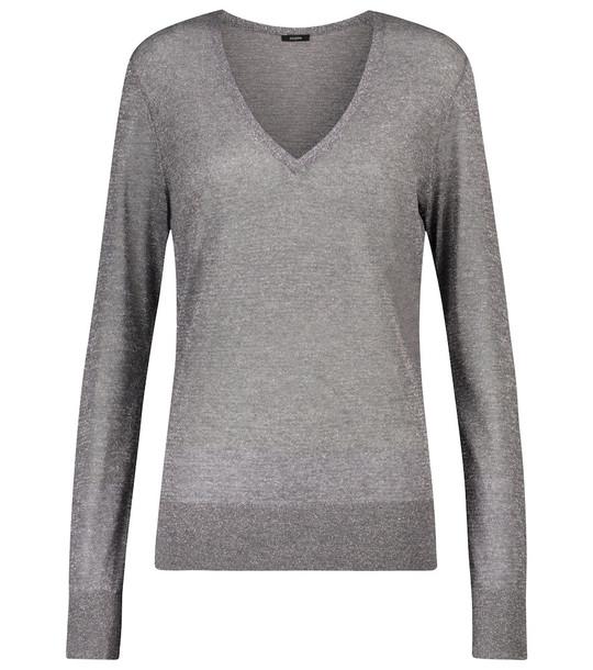 Joseph Metallic sweater in silver