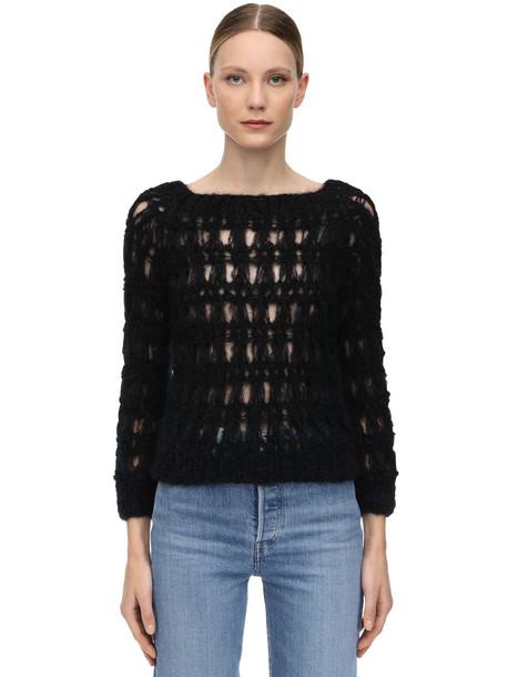 GUDRUN & GUDRUN Snogga Mohair Blend Loose Knit Sweater in black