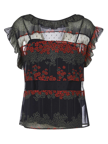 RED Valentino Printed Tulle Blouse