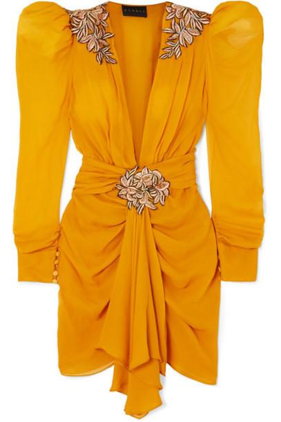 Dundas - Embroidered Chiffon Mini Dress - Yellow