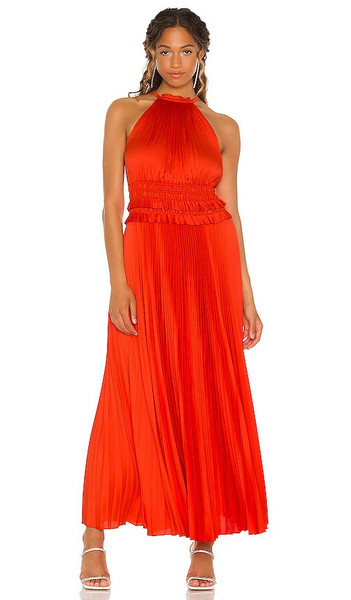 BCBGMAXAZRIA Halter Gown in Red in tomato