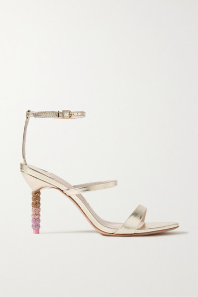 Sophia Webster - Rosalind Crystal-embellished Metallic Leather Sandals - Gold