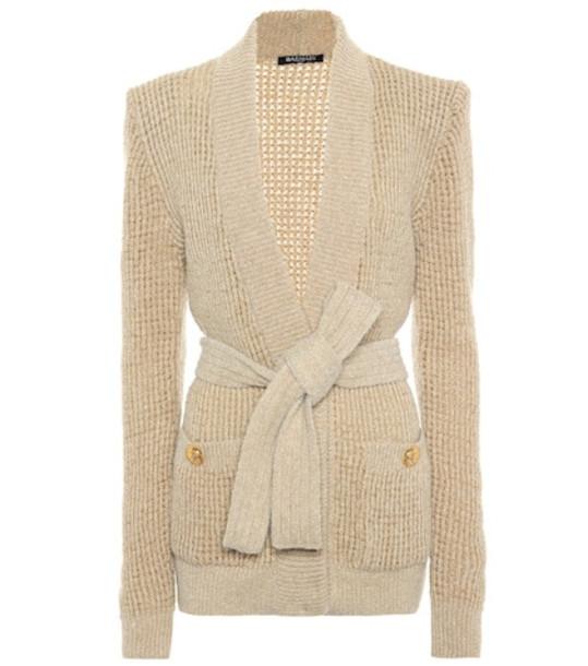 Balmain Wool and alpaca blend cardigan in beige / beige