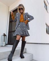 jacket,blazer,plaid,mini skirt,knee high boots,black boots,sweater