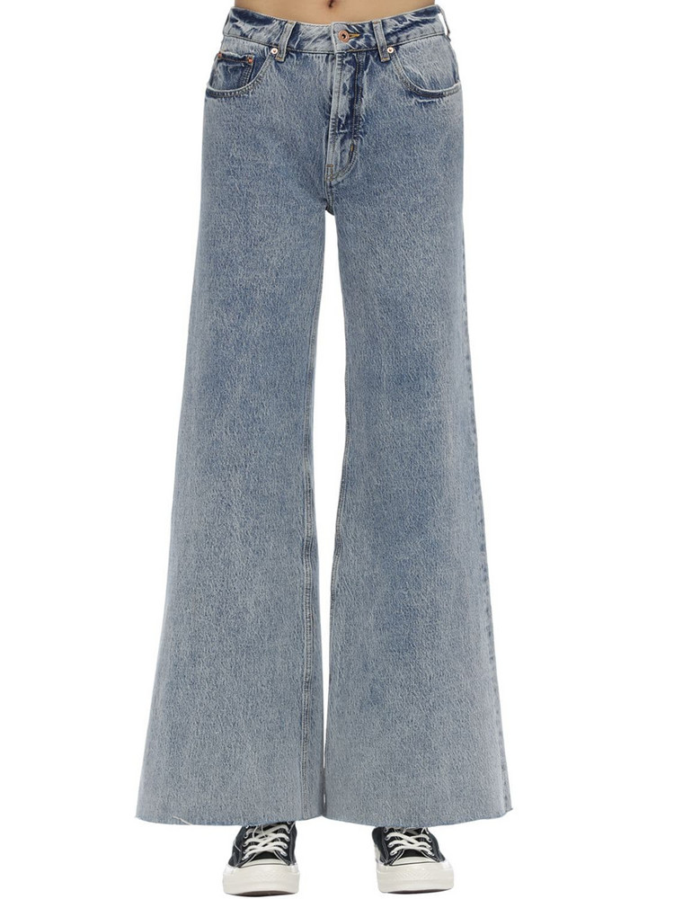 FILLES A PAPA Cotton Denim Jeans W/ Heart Patch in blue