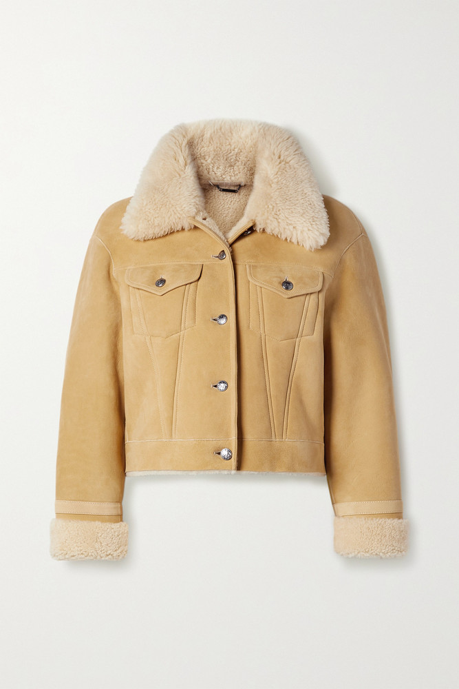 Chloé Chloé - Suede-trimmed Shearling Jacket - Neutrals