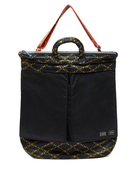 Aries - X Porter Chain-print Padded Tote Bag - Womens - Black Multi