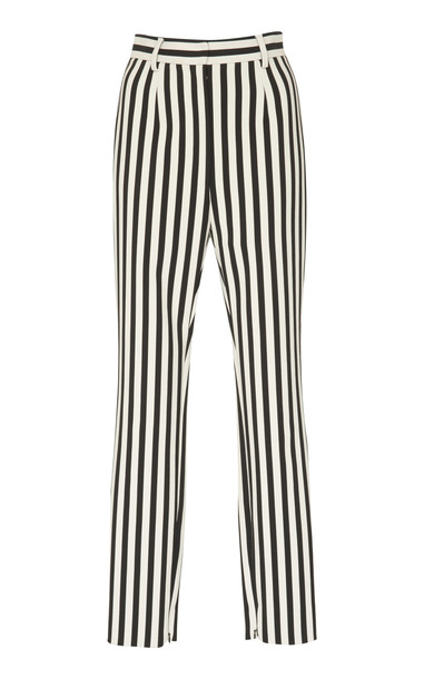Dolce & Gabbana Striped Crepe Slim-Leg Pants in white