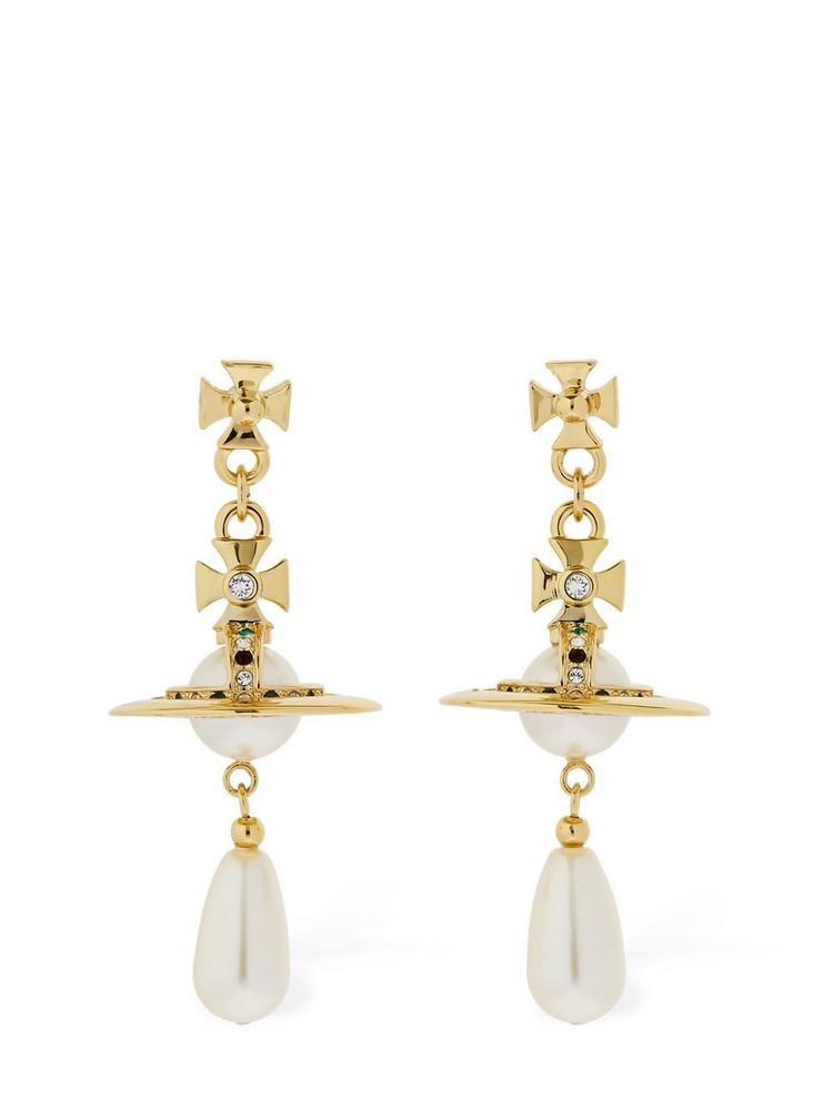 VIVIENNE WESTWOOD Faux Pearl Drop Earrings in gold / white