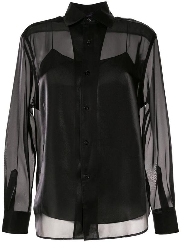 Ralph Lauren Collection satin structured shirt in black