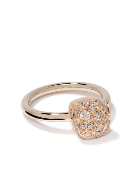Pomellato 18kt rose and white gold Nudo Solitaire diamond ring in brown