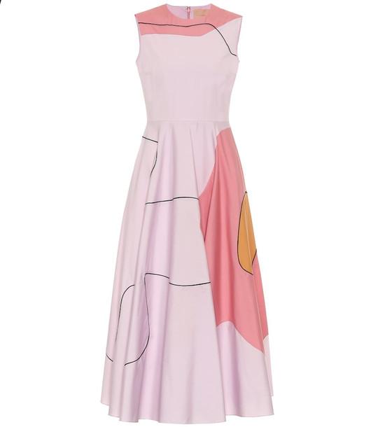 Roksanda Printed cotton midi dress in pink